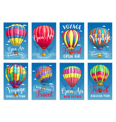 Posters for hot air balloon tour or show vector