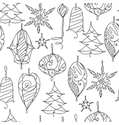 Seamless contour pattern with Christmas decor on vector image