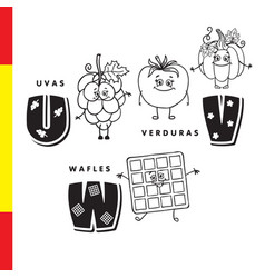 spanish alphabet grapes vegetables waffles vector image vector image