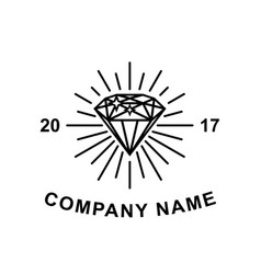 diamond logotype concept black diamond outline vector image