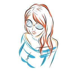 Girl in sunglasses vector image vector image