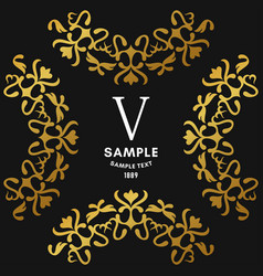 Golden luxurious logo frame golden on black vector