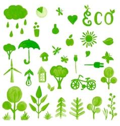 Handpaint watercolor green symbols vector image vector image