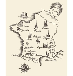 Map of france vintage engraved sketch vector