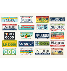 Automobile or car vehicle registration plates vector