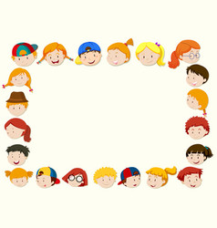border template with happy children face vector image vector image