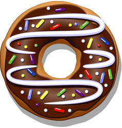chocolate donut vector image vector image