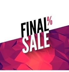 Final sale banner background Promotional vector image vector image