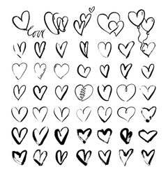 Hand drawn grunge hearts vector image