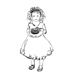 Little girl in the dress vector image