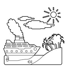 Ship in sea near island concept outline style vector image vector image