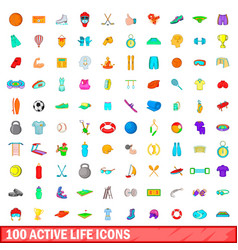 100 active life icons set cartoon style vector image