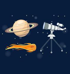 astronomy space cartoon set vector image