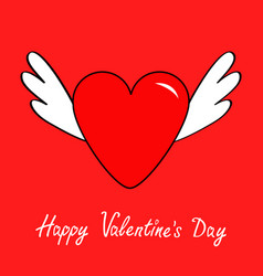 happy valentines day big heart with wings cute vector image vector image