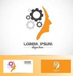 Human head gear idea concept logo vector image vector image
