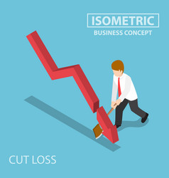 isometric business cut falling graph by axe vector image vector image