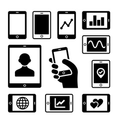 Mobile gadgets with business diagrams icons set vector image vector image