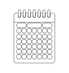 monochrome contour of calendar with spiral vector image vector image