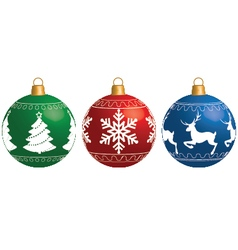Multi-colored christmas balls isolated on a white vector