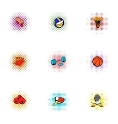 Sports equipment icons set pop-art style vector image vector image