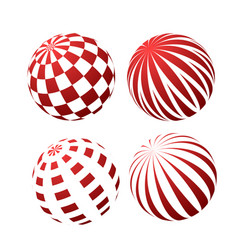 3d spheres with patterns - stripy and checked vector image