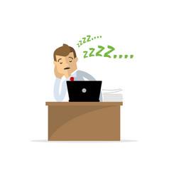A businessman or an employee fall asleep lazy vector