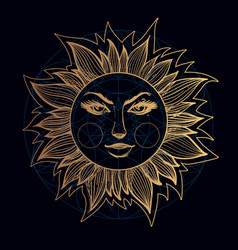 An elegant golden element from a stylized sun vector