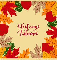 autumn background with leaves and lettering hello vector image