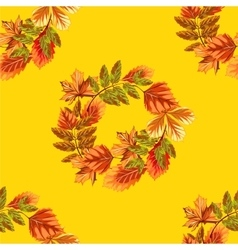 Autumn leaves wreath background vector