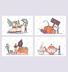 Autumn season posters farm and harvest vector