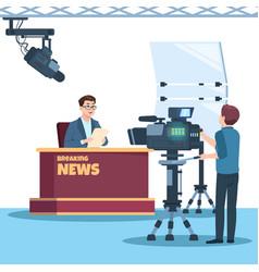 Breaking news tv show studio anchorman cameraman vector