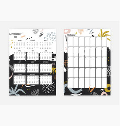 Bundle of monthly and weekly planner templates for vector