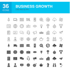 Business growth line web glyph icons vector
