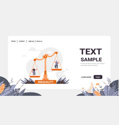 Businessman and businesswoman on scales business vector