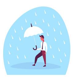 businessman holding umbrella during rain finance vector image