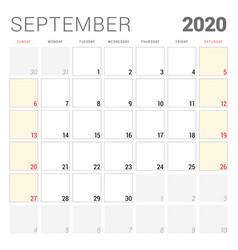 Calendar planner for september 2020 week starts vector