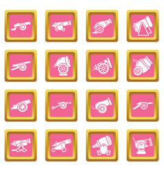 Cannon retro icons set pink square vector