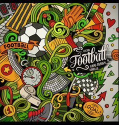 cartoon doodles soccer frame colorful vector image