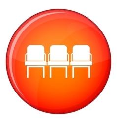 Chairs in the departure hall icon flat style vector