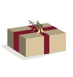 Christmas box on white vector