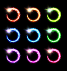 colorful glowing round comet collection vector image