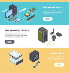 computer components and gadgets isometric vector image