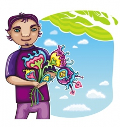 cute boy with flowers vector image