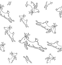 cute hand-drawn seamless pattern with deer cute vector image
