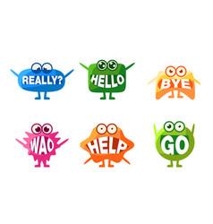 cute monsters characters set colorful emojis vector image