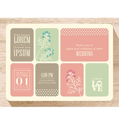Cute pastel wedding invitation card background vector image