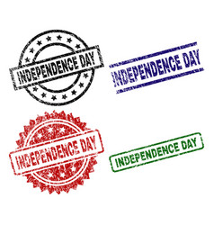 damaged textured independence day seal stamps vector image