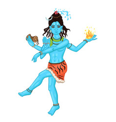 Dancing four-armed shiva isolated on a white vector