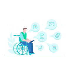 disabled worker - flat design style vector image