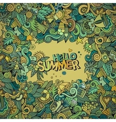 Doodles abstract decorative summer frame vector
